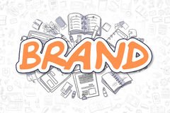 Brand - Doodle Orange Word. Business Concept. Royalty Free Stock Photos