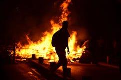 Brand en barricade stock afbeeldingen