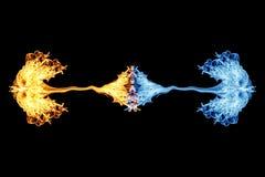 Brand en ijs, Brandvlam en rook op zwarte vector illustratie