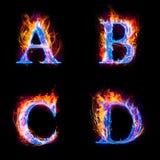Brand en ijstekst, hoofdletter, A aan het alfabet van D Royalty-vrije Stock Foto