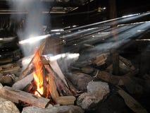 Brand en lichte stralen Stock Foto