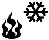 Brand en sneeuwvlok. vector illustratie