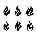 Brand en vlammen het branden Drie kleurenpictogrammen op kartonmarkeringen Stock Afbeelding