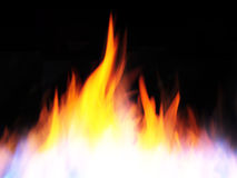 Brand en vlammen op zwarte royalty-vrije stock afbeelding