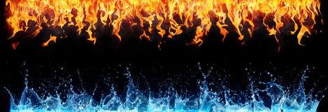 Brand en water op zwarte Stock Afbeelding