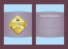 Brand Exclusive Best Quality Golden Label Premium. Brand exclusive best quality 100 golden label premium choice emblem crowned by stars and crown, guarantee Stock Images