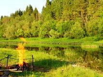 brand för 2 läger Arkivfoto