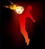 Brand för boll för håll för fotbollspelare på bröstkorgen Royaltyfri Fotografi