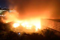 Brand för Februari 20 2018 7:20 e.m. i Pasig Filippinerna royaltyfri foto