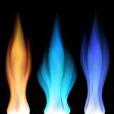 Brand flammar över svart Royaltyfri Bild