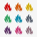 Brand flammar klistermärken royaltyfri illustrationer