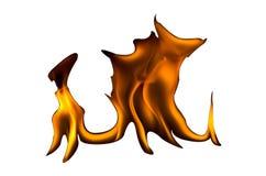 Brand flammar på en vit bakgrund royaltyfri foto