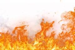 Brand flammar på vit bakgrund Royaltyfria Foton