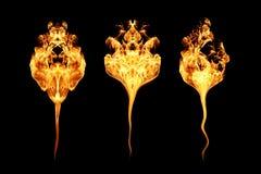 Brand flammar samlingen som isoleras på svart vektor illustrationer