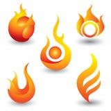 Brand flammar symbolsymbolen Royaltyfri Foto