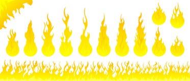 Brand flammar vektoruppsättningen Royaltyfri Bild
