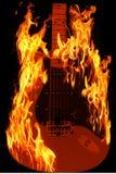 In brand gestoken gitaar Royalty-vrije Stock Afbeelding