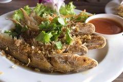 In brand gestoken vissen met knoflook en verse groente Royalty-vrije Stock Foto