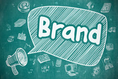Brand - Hand Drawn Illustration on Blue Chalkboard. Royalty Free Stock Images