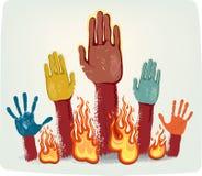 brand hands röstning Arkivfoto