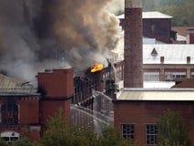 Brand in het gebouw Stock Foto