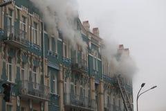 Brand i en historisk centrumbyggnad Royaltyfri Foto