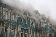 Brand i en historisk centrumbyggnad Royaltyfria Foton