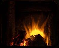 Brand i en spis Arkivbild