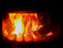 Brand i en spis royaltyfri foto