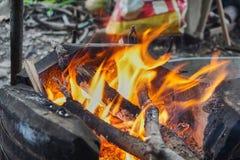 Brand i en ugn Royaltyfri Foto