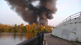 Brand i staden Mycket rök bakifrån skogmordbranden av en köpcentrum i staden Lagret är på brand lager videofilmer