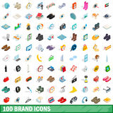 100 brand icons set, isometric 3d style Royalty Free Stock Photography