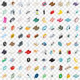 100 brand icons set, isometric 3d style Stock Photos