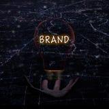 Brand idea concept with with light bulb stock photos