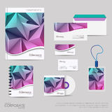 Brand identity company style template demonstrated on office supplies and stationery for businesses. Brand identity company style template demonstrated on mobile royalty free illustration