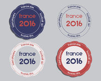Brand identity elements - logo templates and. Badges. France 2016 Football. The national colors of France design. Isolated on bright background. Vector royalty free illustration