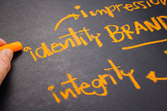 Brand Identity. Hand writing Brand concept on chalkboard, focus at Identity word Stock Photos