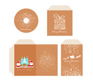 Brand identity merry Christmas disc with packaging, Envelope retro Stock Photo