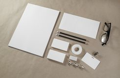 Brand identity mockup. Blank corporate stationery set on craft paper background Stock Photo