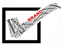 BRAND info text graphics. And arrangement concept (word clouds) on white background Stock Image
