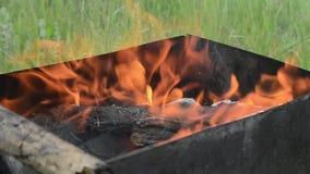 Brand in koperslager het branden stock footage