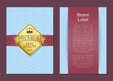 Brand Label Premium Quality Best Offer 100 Poster. Decorated by golden sticker vector illustration with gold label isolated on banner with place for text Stock Photography