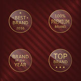 Brand label set. Glass label set. Best brand, brand of the year, premium brand, top brand Stock Photo