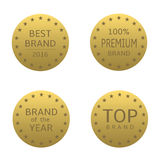 Brand label set. Golden label set. Best brand, brand of the year, premium brand, top brand Royalty Free Stock Photos