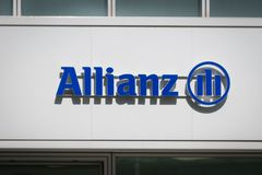 Brand logo of  Allianz, a German multinational financial services and insurance company. Berlin, Germany - June, 2019: Brand logo of  Allianz. Allianz SE is a stock photo