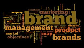 Brand management. Words cloud with brand management related words vector illustration