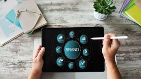 Brand management. Awareness increase, marketing and advertising concept. royalty free stock images