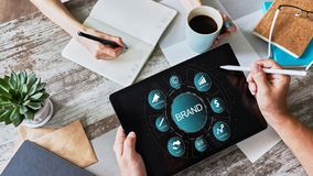 Brand management. Awareness increase, marketing and advertising concept. Brand management. Awareness increase, marketing and advertising concept royalty free stock images