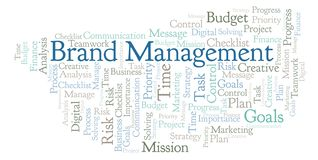 Brand Management word cloud, made with text only. Brand Management word cloud, made with text only stock illustration