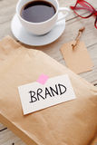Brand marketing concept with product packgage Royalty Free Stock Photos